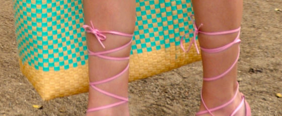 Lace up pink platforms